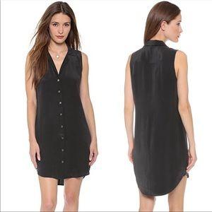 Equipment Femme Signature Adalyn Sleeveless Silk Shirt Dress Black Size S Womens